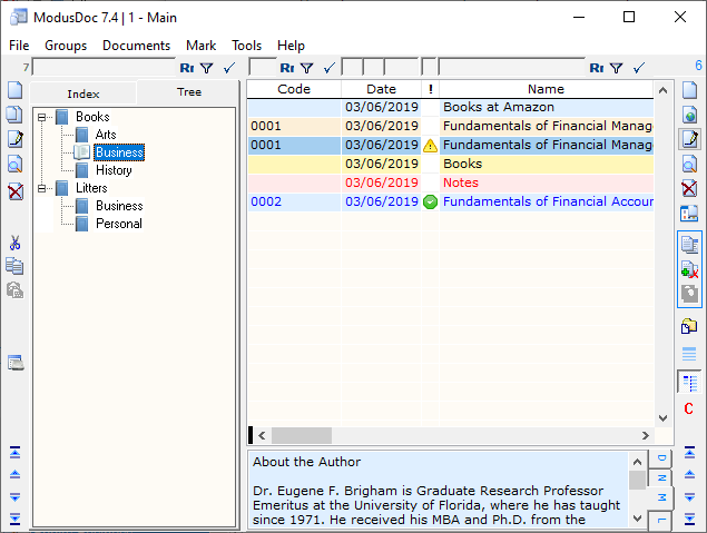 Data cataloger for documents files hyperlinks programs folders and notes latest Screen Shot